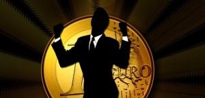 Black silhouette Euro coin