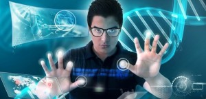 Man using modern technology