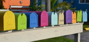 Mailboxes of different colour