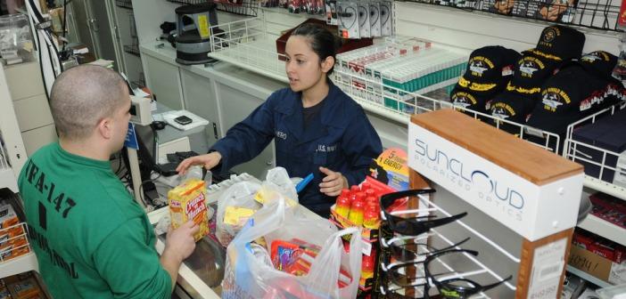 Man buying groceries supermarket