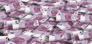 Pile of 500 euro bills