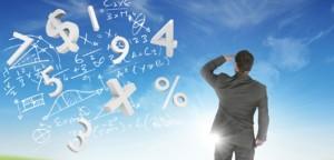 businessman mathematical symbols horizon blue skies