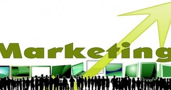 Black silhouettes green screens marketing arrow
