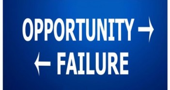 Directions for opportunity and failure blue background