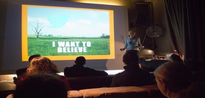 NPO member giving presentation