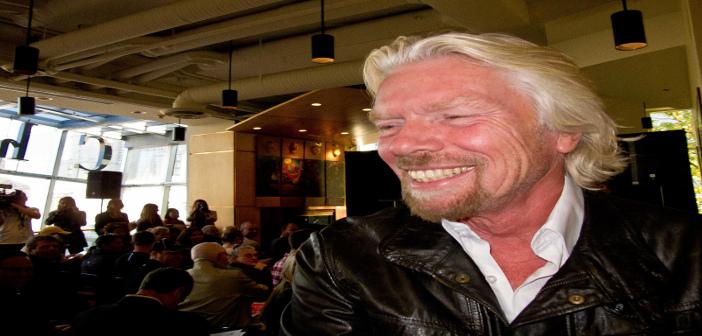 Sir Richard Branson in a bar