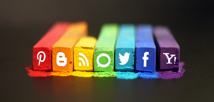 Social media icons on colored chalk pieces