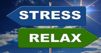 Stress and relax signs blue sky