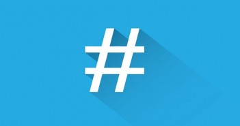 White hashtag on blue background