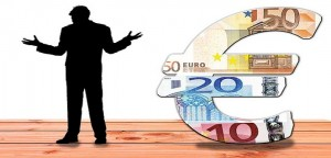 Black silhouette Euro currency