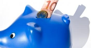 Blue Piggybank and 10 euro bill