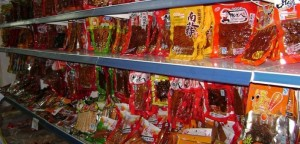 Candy on supermarket shelves