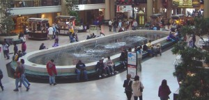 Shopping Mall space fountain and people