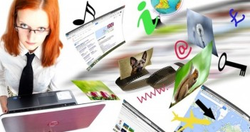 Woman laptop internet related items