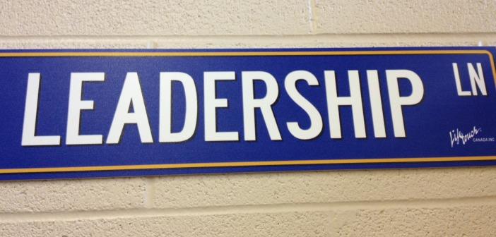 blue leadership lane sign