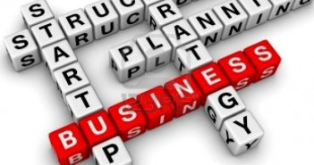 Business-related words on blocks
