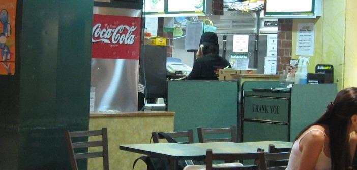 Subway restaurant people eating