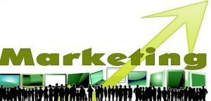 Black silhouettes green screens marketing arrow