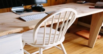 Wooden Chair and Computer on Table