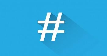 White hashtag on blue background