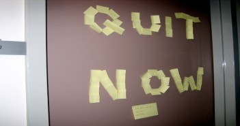 quit now post-it notes on a board